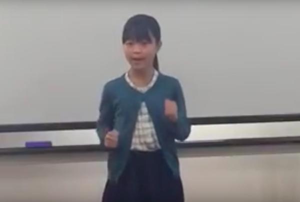 2015年 かながわ小中学生英語スピーチコンテスト優勝 小5生 マイさん 動画